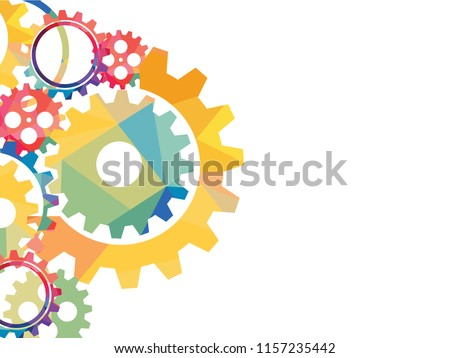 Abstract techno background with geometric colorful gear wheels. Space for text. Vector modern mechanism industrial concept. Technology gears background. Vector illustration