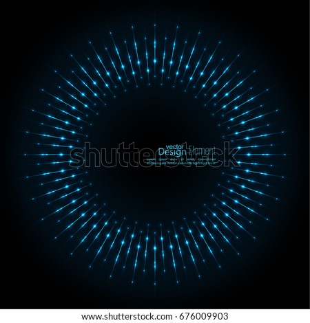 Abstract techno background with rays with glowing particles.
