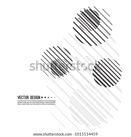 Abstract techno background with sphere. Vector dynamical round element. Black and white circle striped.