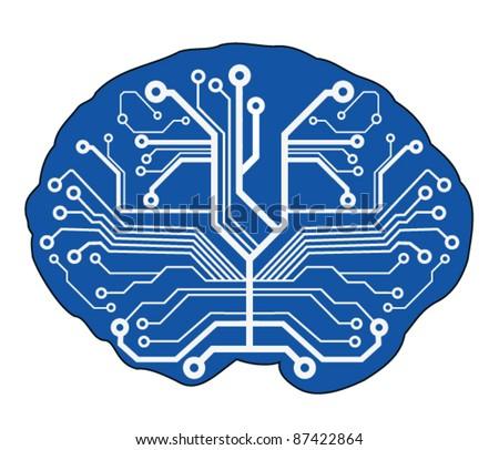 abstract techno brain. vector illustration