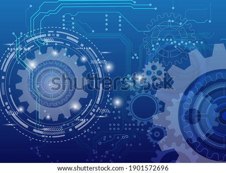 Abstract techno gear background with geometric colorful gear wheels. Space for gear text. Vector gears modern mechanism industrial concept. Technology gears background. Gears Vector illustration  Photo stock ©