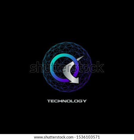 Abstract Techno Letter Q logo icon circle line polygon vector design concept for business technology or more brands.