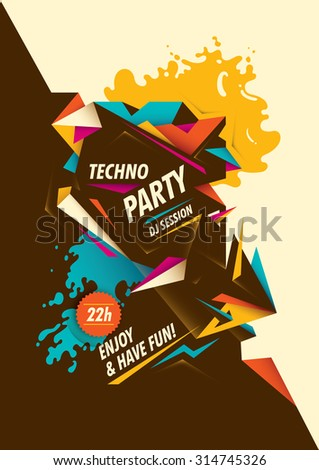 abstract techno party poster