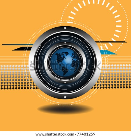 Abstract technological background with blue globe set in the middle of metallic circles. High tech background
