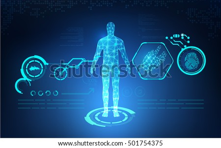abstract technological health care; science blue print; scientific interface; futuristic backdrop; digital blueprint of human; 3D body part of human