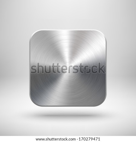 Abstract technology app icon, blank button template with metal texture (chrome, silver, steel), realistic shadow and light background for web sites, user interfaces (UI) and applications (apps).