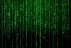 Abstract Technology Background. Binary Computer Code. Programming / Coding / Hacker concept. Vector Background Illustration.