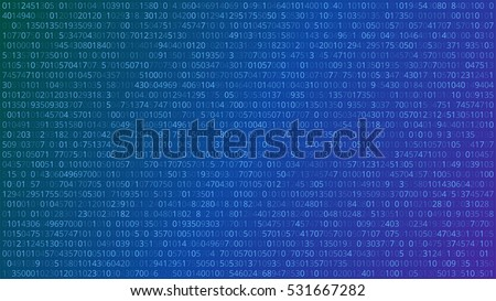 Abstract Technology Background. Binary Computer Code. Vector Illustration.
