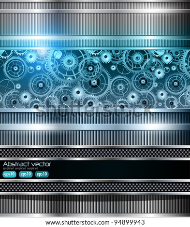 Abstract technology background blue metallic machinery, vector.
