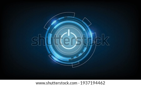 Abstract technology background circle digital hi-tech technology design with power button. concept innovation. vector illustration.  Foto stock ©