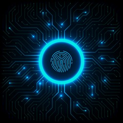 Abstract technology background. Cyber security concept. Fingerprint scanning on circuit board vector illustration.