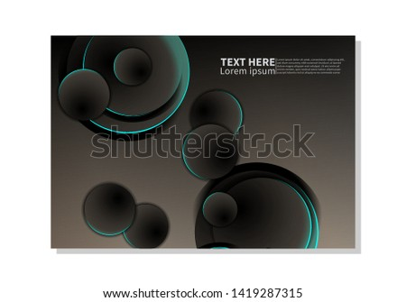 Abstract technology background. dark circles with glowing blue lights. minimal vector design #1419287315
