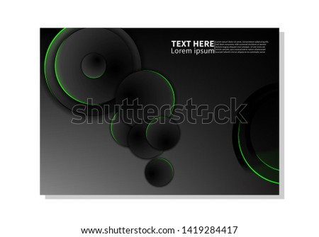 Abstract technology background. dark circles with glowing green lights. minimal vector design #1419284417
