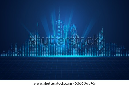 abstract technology background; digital building in modern style; concept of technology world