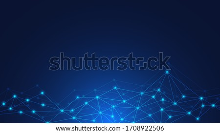 Abstract technology background with connecting dots and lines. Global network connection, digital technology and communication concept.
