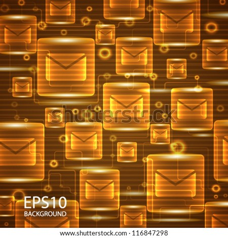 Abstract technology background with glowing envelope signs. Communication concept.  Vector illustration.