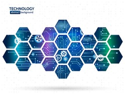 Abstract technology background with hexagons and gear wheels. Hi-tech circuit board vector illustration