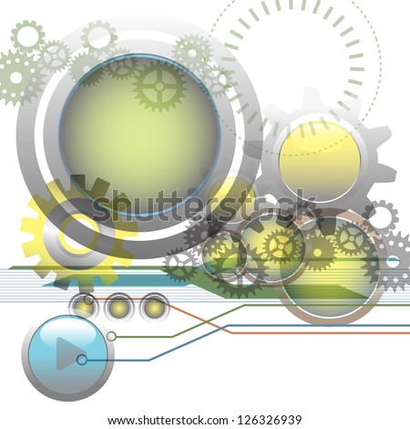 Abstract technology background with metallic spheres, gears, circles and various futuristic elements