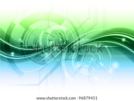 abstract technology background with the blue and green gradient