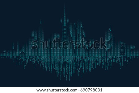 abstract technology binary city