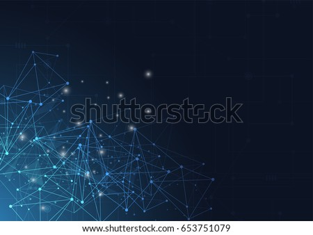 Abstract technology blue glowing connections in space with particles, big data, computer generated abstract background. Vector Illustration