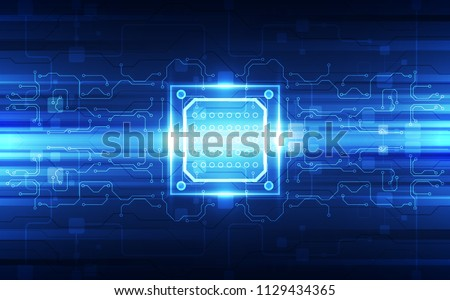 Abstract technology chip processor background circuit board and code, illustration blue technology background vector.