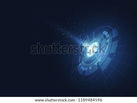 Abstract technology circle blue innovation concept on a dark background. Vector illustration
