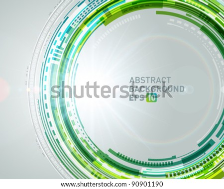 Abstract technology circles and light effects vector background. Eps 10