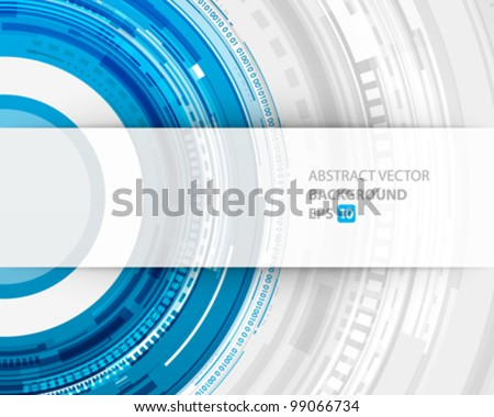 Abstract technology circles and transparent paper vector background eps 10