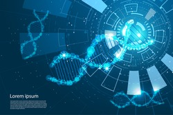 abstract technology concept DNA the future circle Interface technology on hi tech background.