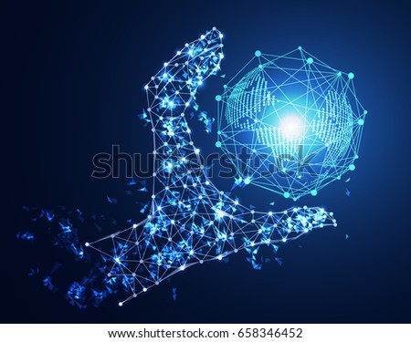 abstract technology concept hand digital link and world future on hi tech background