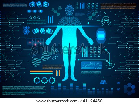 abstract technology concept human body digital health care ; hud interface of health analysis and scan body to verify identity future design on hi tech background