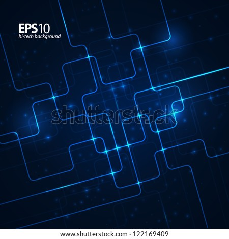 Abstract technology dark blue background. Vector illustration.