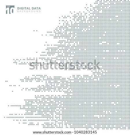Abstract technology digital data square gray pattern pixel background. Vector graphic illustration