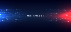 Abstract technology horizontal motion style concept. Particle connection background design with red and blue lights. vector illustration.