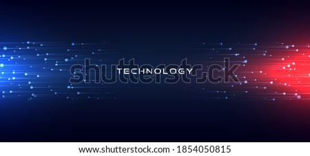 Abstract technology horizontal motion style concept. Particle connection background design with red and blue lights. vector illustration. stock photo