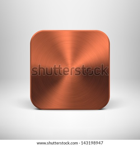 Abstract technology icon button template with bronze metal texture stainless steel chrome cuprum realistic shadow and light background for user interfaces UI applications apps Vector