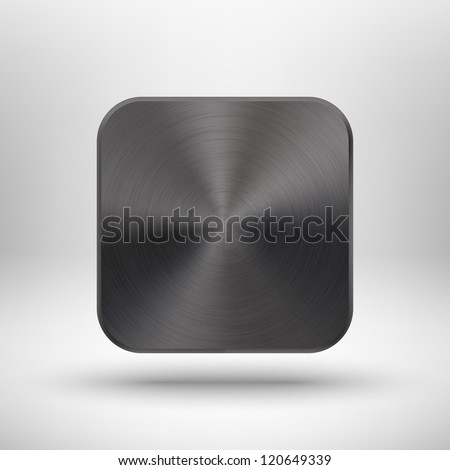 Abstract technology icon (button) with black metal texture (stainless steel, chrome, silver), realistic shadow and light background for internet sites, web user interfaces (ui) and applications (app).