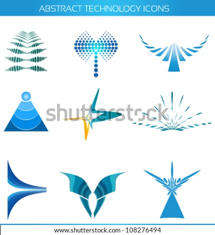 abstract technology icons, logo designs