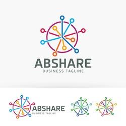 Abstract technology logo design. Share and Cloud computing logo concept. Vector logo template