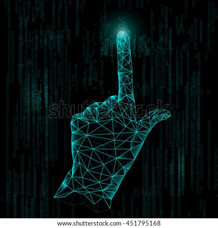 abstract technology, polygon hand, digital technology