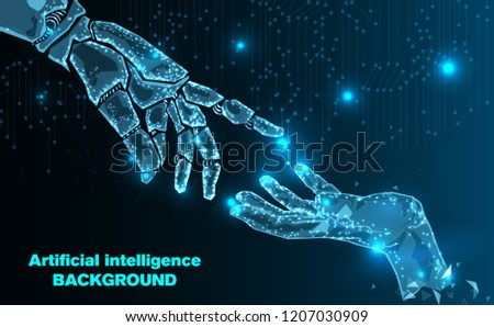 Abstract Technology.Robot arm and hand human of Artificial intelligence.Low Poly wire frame technology.Futuristic concept.Cyber technology wire network futuristic wire frame.space .Vector