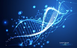abstract technology science concept DNA futuristic on hi tech blue background