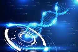 abstract technology science concept modern circle and DNA blue light on binary hi tech background
