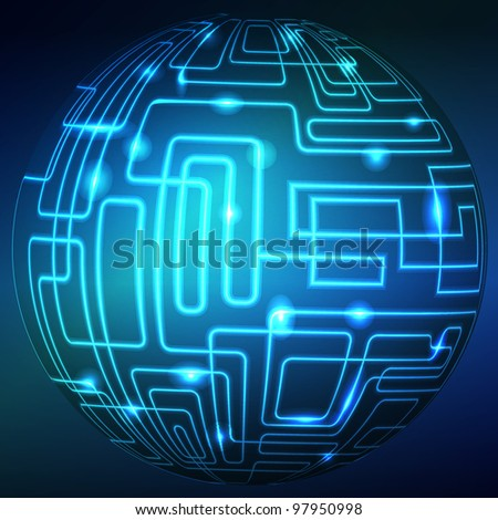 abstract technology sphere background. Colorful vector illustration.