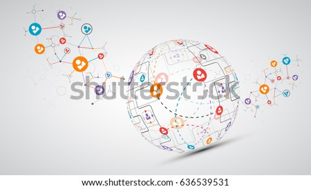 Abstract technology sphere background. Global network concept. Vector