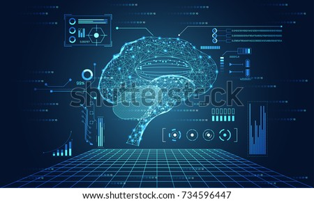 abstract technology ui futuristic concept brain hud interface hologram elements of digital data chart, communication, computing and circle percent innovation on hi tech future design background
