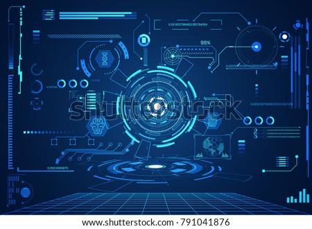 abstract technology ui futuristic concept hud health interface hologram elements of digital data chart,communication, Brain,DNA,circle percent vitality innovation on hi tech future design background