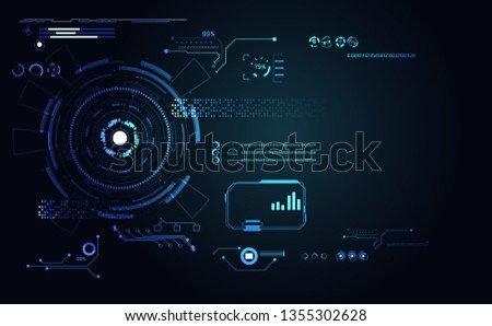 abstract technology ui futuristic concept hud interface hologram elements of digital data chart, communication, computing and circle percent vitality innovation on hi tech future design background