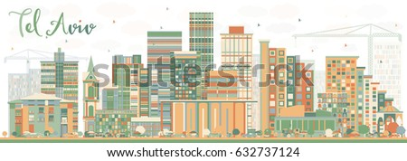Abstract Tel Aviv Skyline with Color Buildings. Vector Illustration. Business Travel and Tourism Concept with Modern Architecture. Image for Presentation Banner Placard and Web Site.